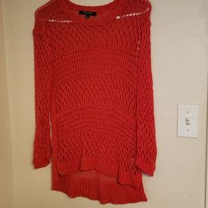 Christian Siriano Red Open Knit Sweater